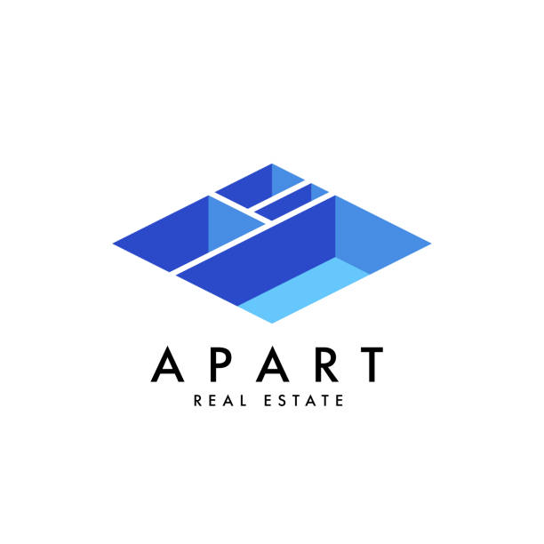 real estate vector logo design template - architect stock illustrations, clip art, cartoons, & icons