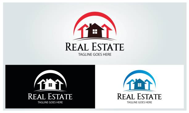 illustrations, cliparts, dessins animés et icônes de real immobilier illustration - logos immobilier