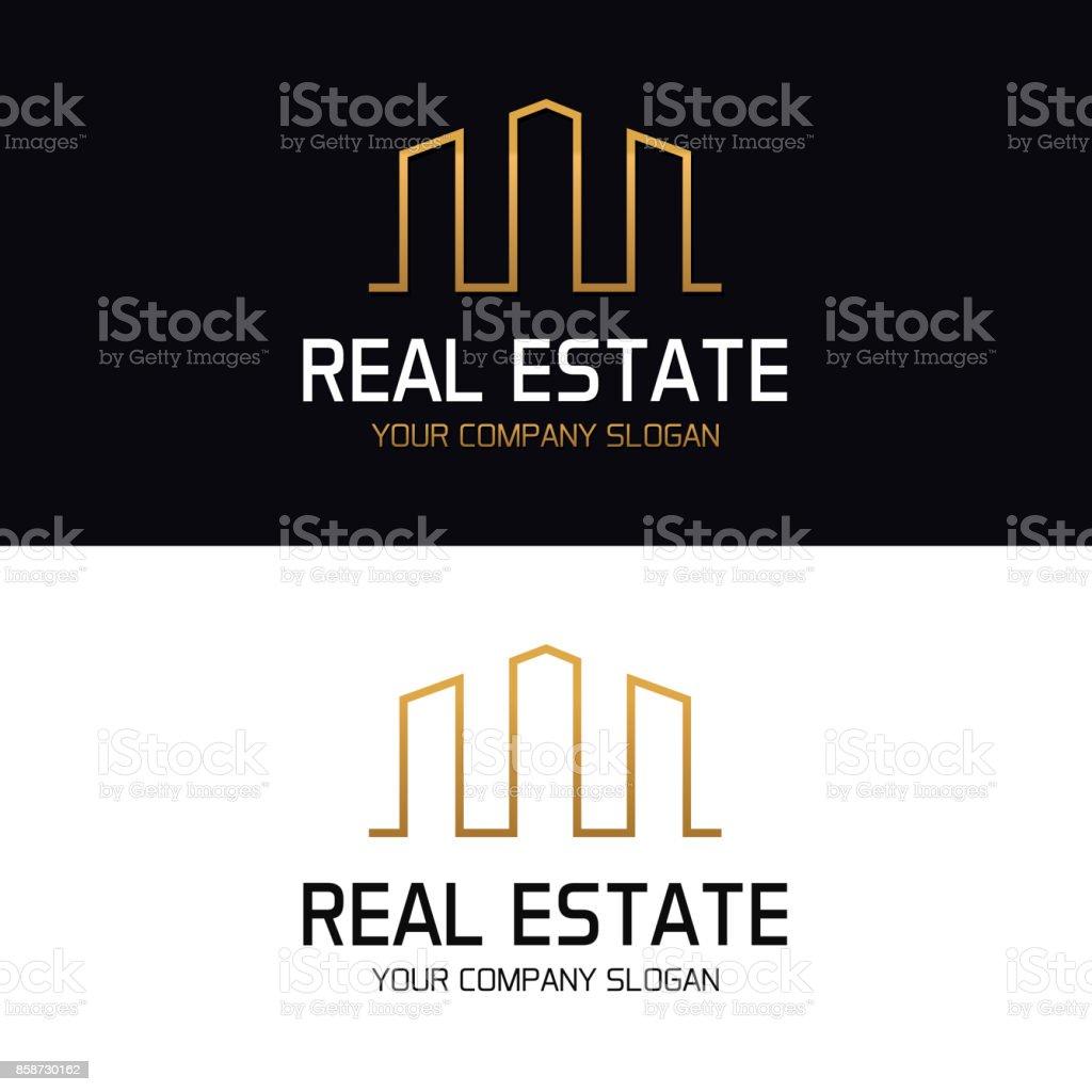 高層ビル建物スカイラインの不動産。最小限のベクター デザイン ベクターアートイラスト
