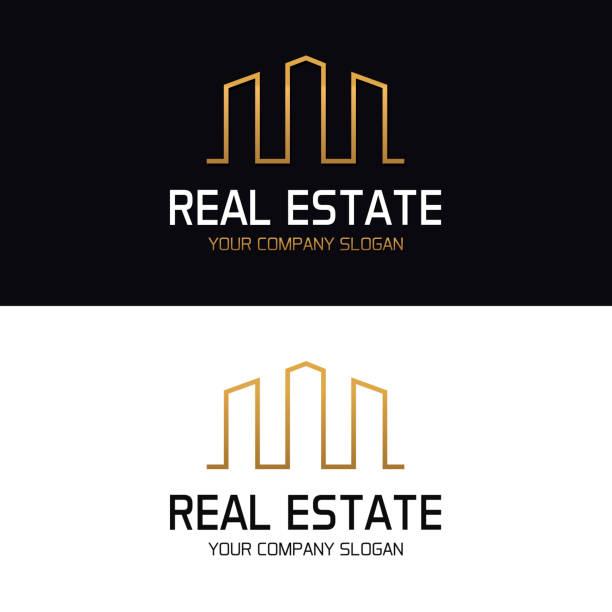 illustrations, cliparts, dessins animés et icônes de immobilier avec toits de bâtiments de gratte-ciel. conception de vecteurs minimal - logos immobilier