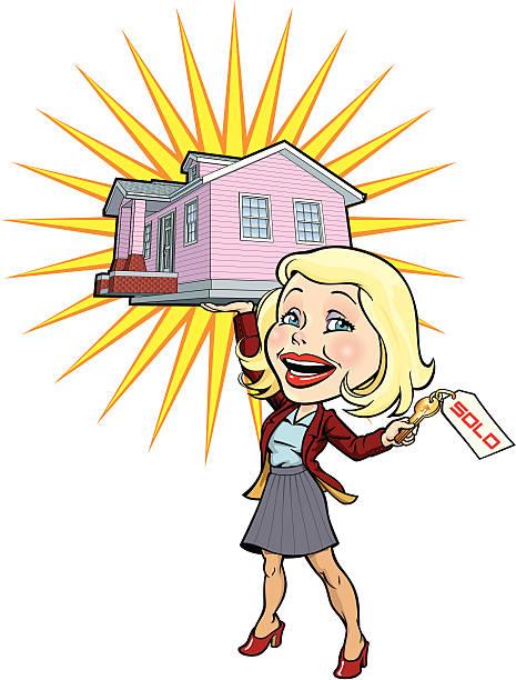 real estate frau - schlüsselfertig stock-grafiken, -clipart, -cartoons und -symbole