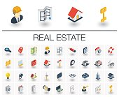 Real Estste and Rent Apartment isometric icons. 3d vector