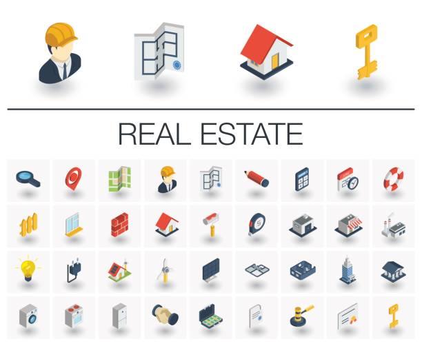 ilustraciones, imágenes clip art, dibujos animados e iconos de stock de real estste alquilo apartamento isométricos iconos y. vector 3d - íconos 3d