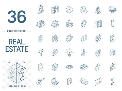Real Estste and Rent Apartment isometric line icons. 3d vector