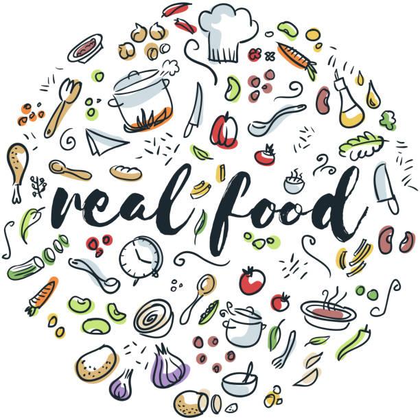 Richtiges Essen hand gezeichnete design – Vektorgrafik