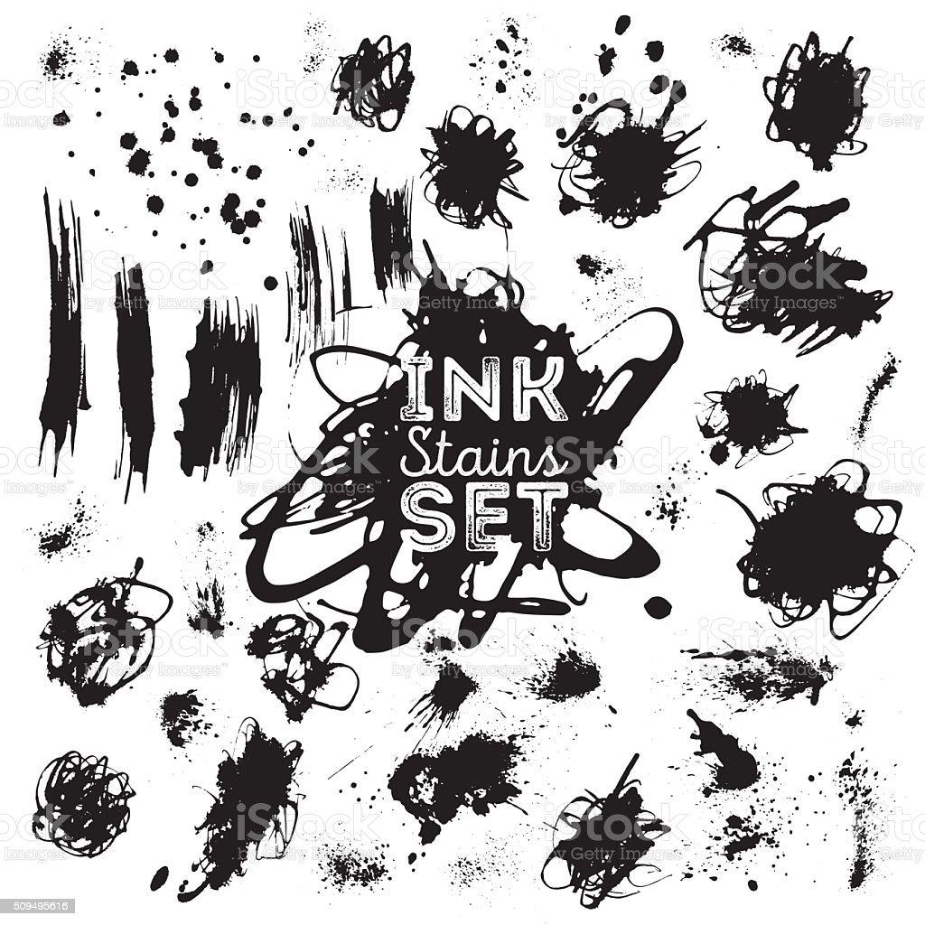 Real ink stains, splashes set for design. vector art illustration