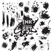 Real ink stains, splashes set for design.