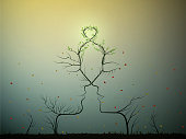 real love never change, couple of people look like tree branches silhouettes with green heart, two profiles of lowers concept, vector