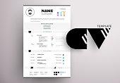 Modern CV example design, resume vector template minimalistic creative style
