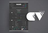 Modern Black CV example design, resume vector template dark minimalistic creative style