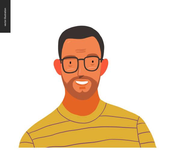 illustrations, cliparts, dessins animés et icônes de portraits de gens réels - homme de brunette - portrait homme