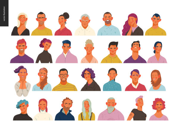 Real people portraits set - men and women Real people portraits set - hand drawn flat style vector design concept illustration of men and women, male and female faces and shoulders avatars. Flat style vector icons set characters stock illustrations