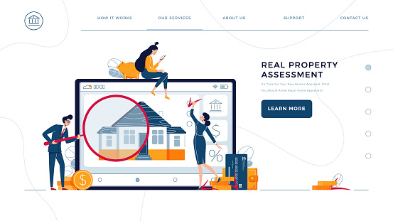 Real property assessment web template. Home appraisers are doing property inspection of a house. Real estate valuation, home value, professional appraisal concept. Flat vector illustration
