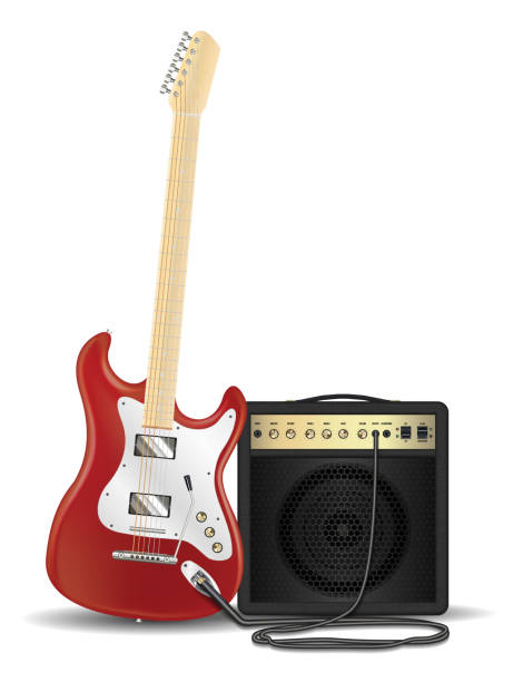 real red electric guitar with guitar amplifier vector art illustration