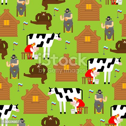 istock Real Russia pattern seamless. Russian village background. Woman milks cow. Man plays balalaika. Bear is dancing. 1300069371