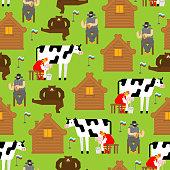 istock Real Russia pattern seamless. Russian village background. Woman milks cow. Man plays balalaika. Bear is dancing. 1300069371
