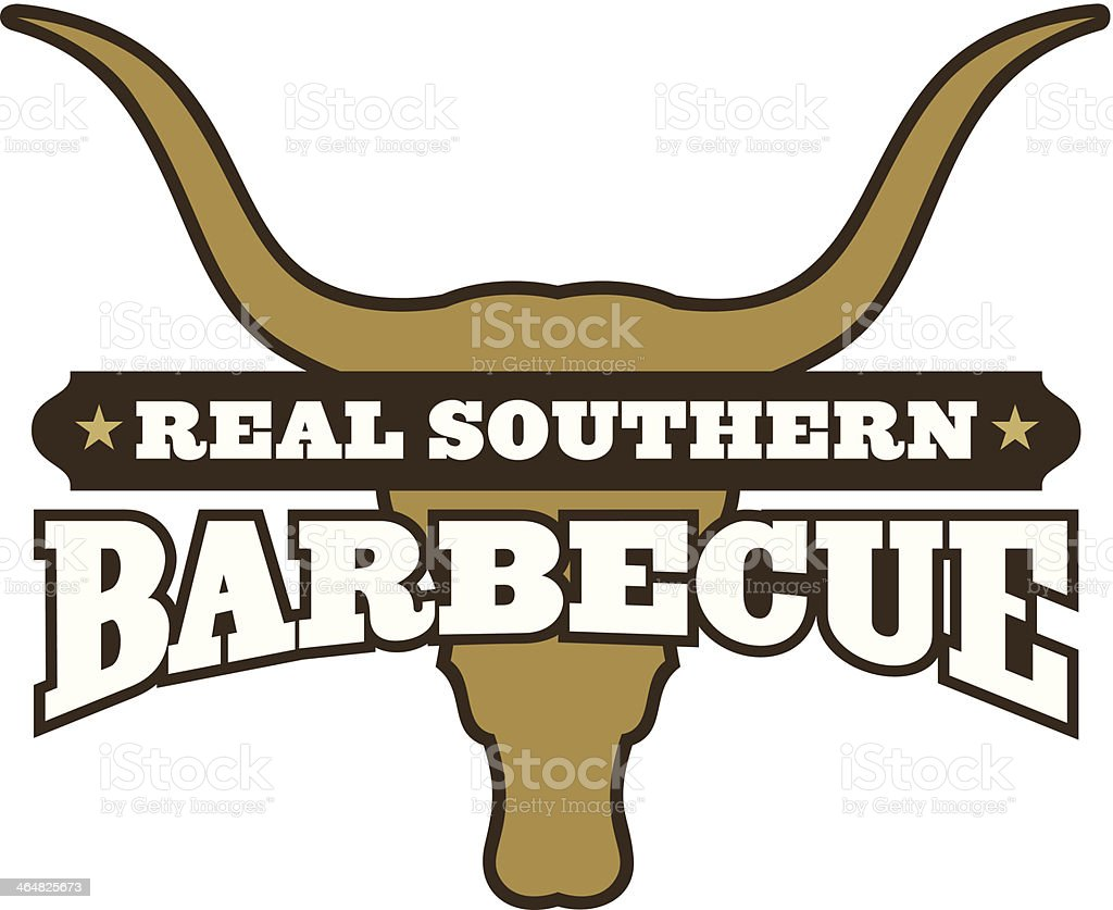 Real Southern Barbecue Symbol vector art illustration