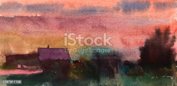istock Real watercolor background of a sunset or a rising sky. Purple pink orange. Hand-painted. 1297911105