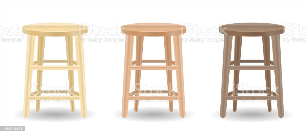 ... Real Wood Round Chair Set On White Background Vector Art Illustration  ...