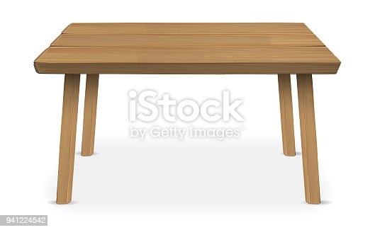istock real wood table on a white background 941224542
