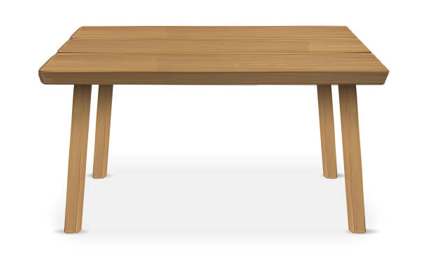 ilustrações de stock, clip art, desenhos animados e ícones de real wood table on a white background - table