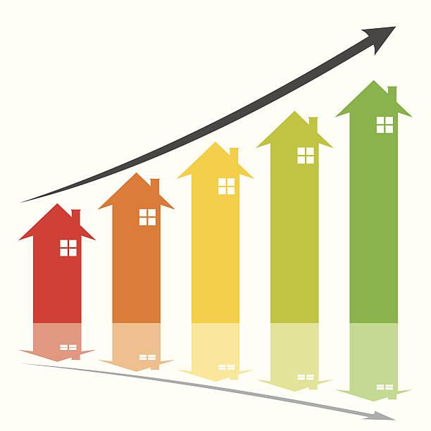 illustrazioni stock, clip art, cartoni animati e icone di tendenza di immobiliare di crescita - banchi scuola