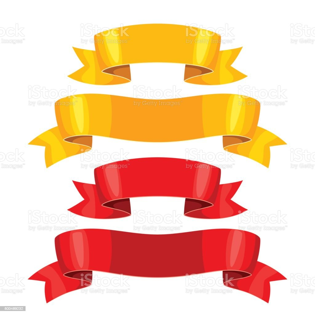 Realictic gold and red ribbons. Set of banners for decoration and design vector art illustration