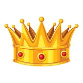 Realictic gold crown with red rubies. Illustration of award for sports or corporate competitions.