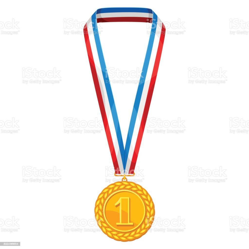 Realictic gold medal with multi colored ribbon. Illustration of award for sports or corporate competitions vector art illustration