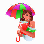 Vector illustration in realism 3d style with smiling woman holding umbrella and shopping bags on separate background