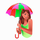 Vector illustration in realism 3d style with smiling woman holding umbrella on separate background