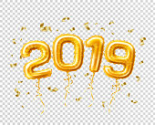 2019 golden air balloons with confetti new year, merry christmas celebration decoration design elements. Vector realistic traditional xmas party greeting symbols illustration transparent background