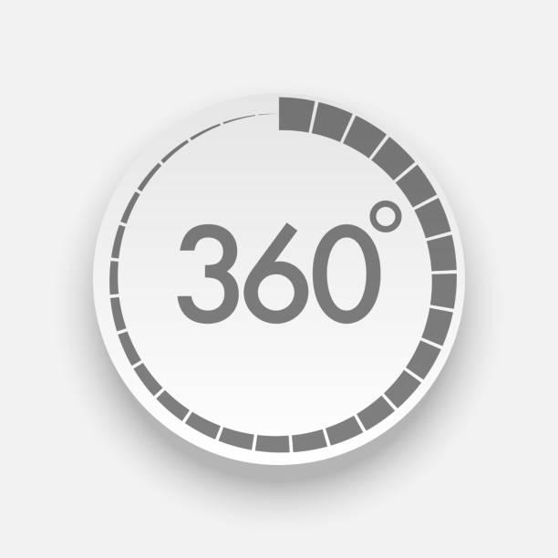 Realistische 360 Grad-Taste für Webdesign – Vektorgrafik