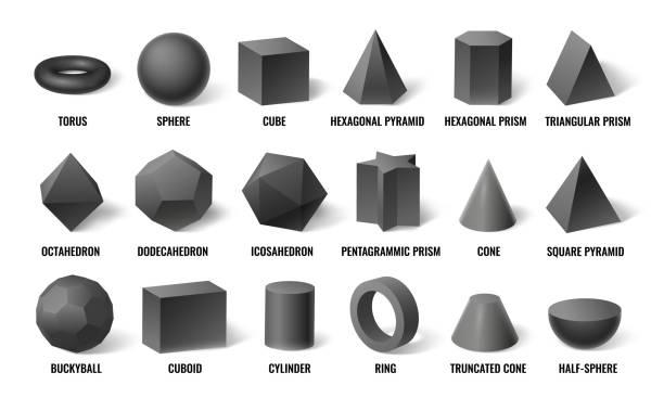 ilustrações de stock, clip art, desenhos animados e ícones de realistic 3d basic shapes. sphere shape with shadow, cube geometry and prism model in perspective concept vector illustration set - cilindro formas geométricas