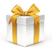 Realistic 3D Beautiful White Gift with Colorful Gold Ribbons Wrap with Dotted Pattern for Birthday or Christmas Celebration in White Background. Editable Vector Illustration.