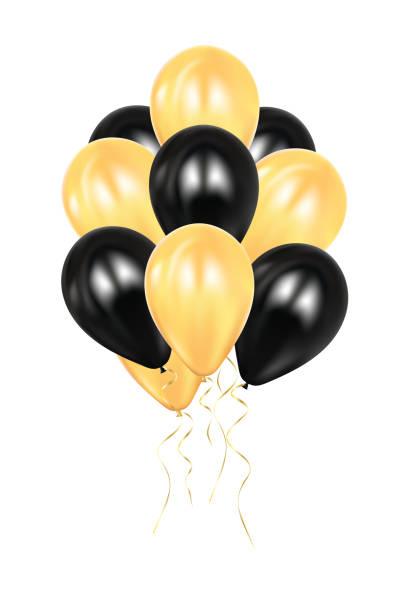 realistische 3d schwarzen und goldenen ballons. bunt glänzende ballon. ballons isoliert mockup für jubiläum, geburtstag. design-element. hochzeit, start-up-dekoration. - clipart goldene hochzeit stock-grafiken, -clipart, -cartoons und -symbole