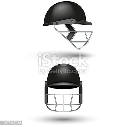 Realistic 3d black cricket helmet mockup isolated on white background front and side two views, vector object sport equipment head protection