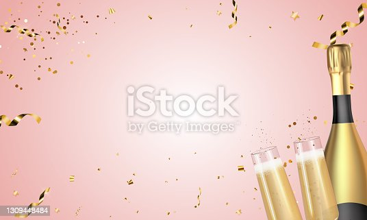 istock Realistic 3D champagne Golden Bottle and Glasses on Pink background. Vector Illustration 1309448484