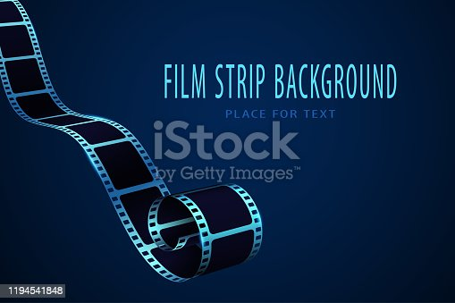 Realistic 3D cinema film strip in perspective. Film reel frame isolated on blue background. Vector template cinema festival with place for text. Movie design for brochure, poster, banner or flyer. EPS