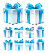 Realistic 3D Collection of Colorful Blue Pattern Gift Box with Ribbon and Bow for Birthday Celebration, Christmas, Party, Anniversary and Eid Mubarak. Set of Isolated Vector Illustration