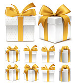 Realistic 3D Collection of Colorful Gold Pattern Gift Box