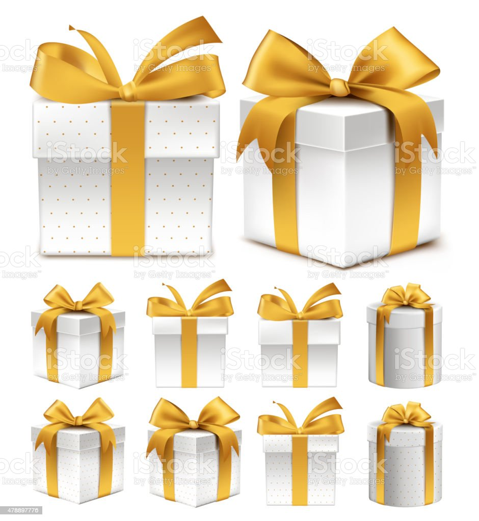 Realistic 3D Collection of Colorful Gold Pattern Gift Box vector art illustration
