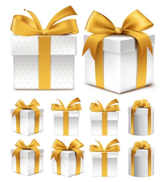 realistische 3d-sammlung von bunten geschenk box gold muster - geburtstagsgeschenk stock-grafiken, -clipart, -cartoons und -symbole