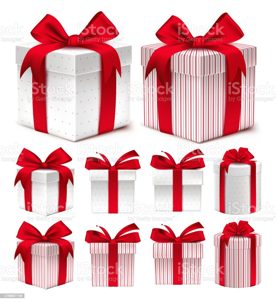 Realistic 3D Collection of Colorful Red Pattern Gift Box vector art illustration