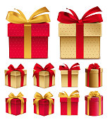 Realistic 3D Collection of Colorful Red Pattern Gift Box with Ribbon and Bow for Birthday Celebration, Christmas, Party, Anniversary and Eid Mubarak. Set of Isolated Vector Illustration