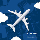 istock Realistic 3d Detailed Airplane and Go Travel Concept Card. Vector 1199270580