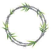 Realistic 3d Detailed Barbed Wire Frame with Green Leaf Bamboo Decorative Symbol of Private and Protective. Vector illustration