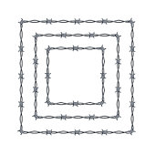 Realistic 3d Detailed Barbed Wire Frames Set Square or Box Shape for Promotion and Advertising. Vector illustration of Barbwire