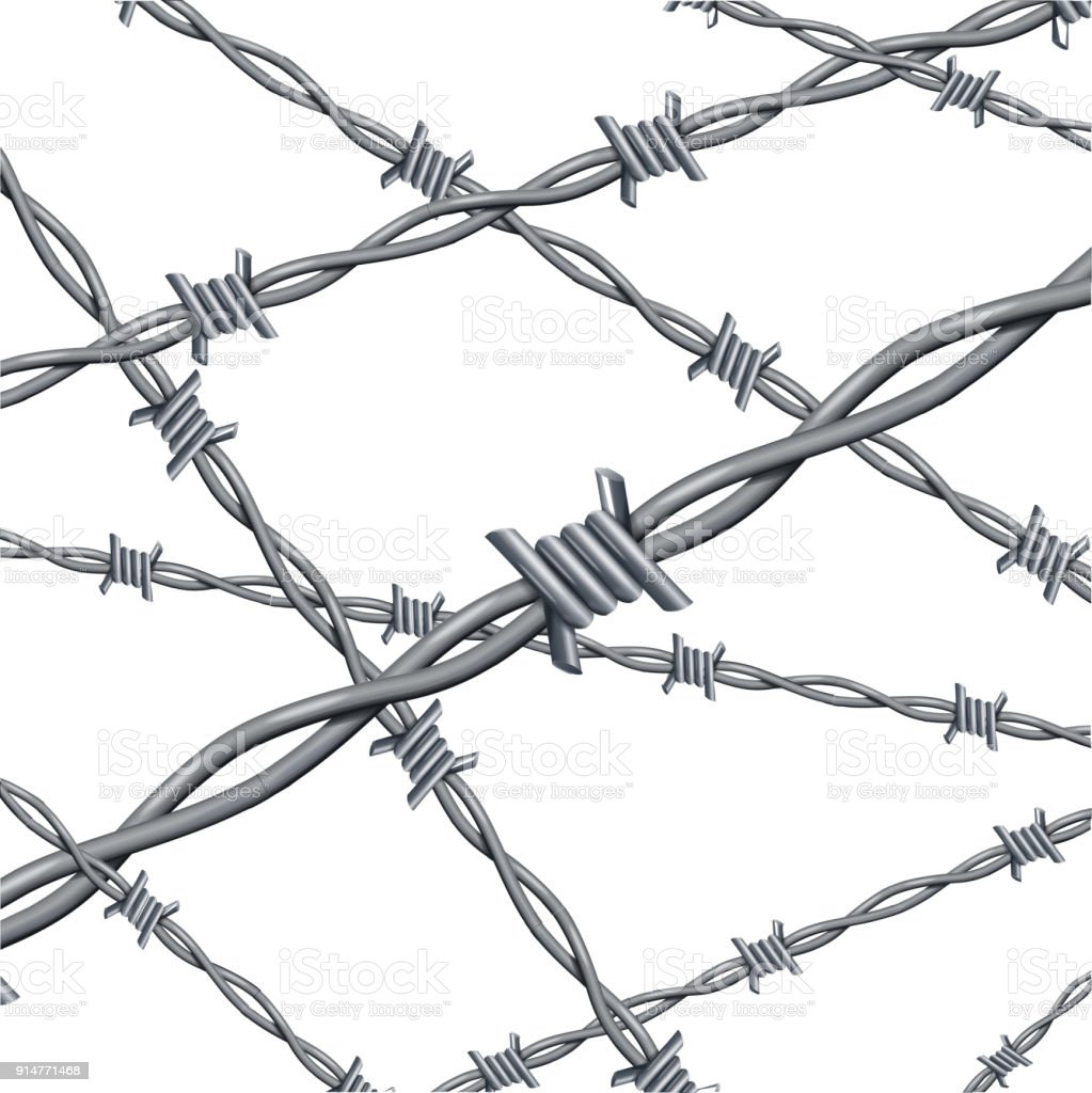 Realistic 3d Detailed Barbed Wire Line Background Card Vector Stock ...