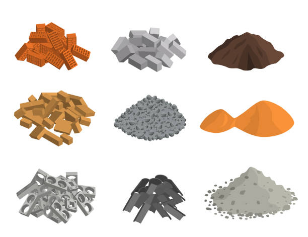 Realistic 3d Detailed Building Materials Set. Vector Realistic 3d Detailed Building Materials Set Include of Brick, Cement, Sand, Stone Gravel and Metal. Vector illustration heap stock illustrations